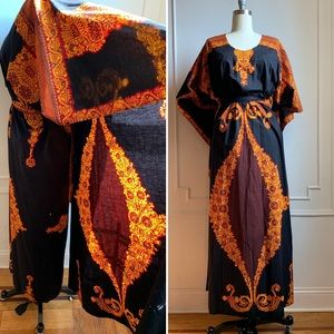 Vintage Black Maxi Dress with Cascading Cape